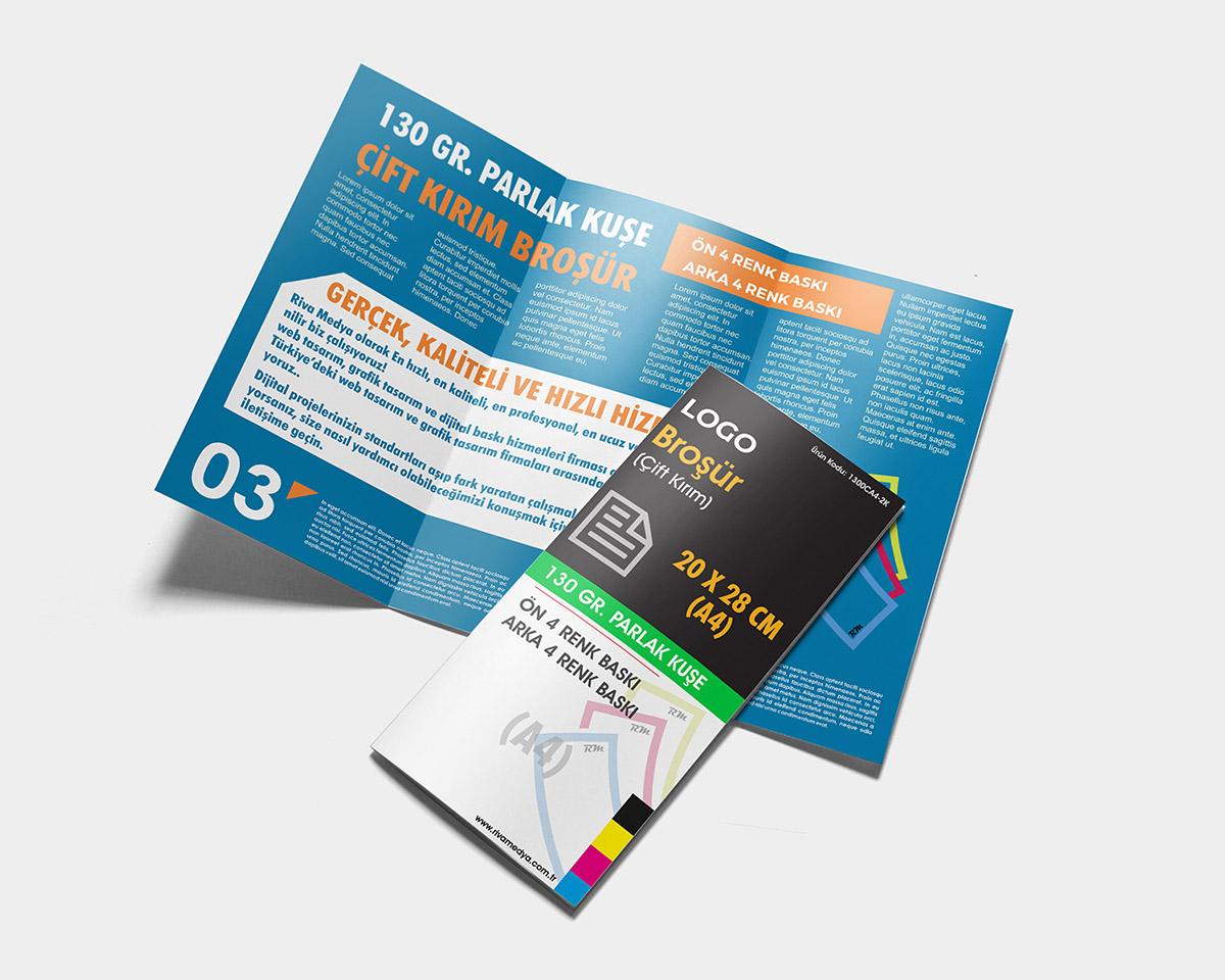 Çift Kırım Broşür – 20×28 CM (A4) – (Tasarım + Baskı)