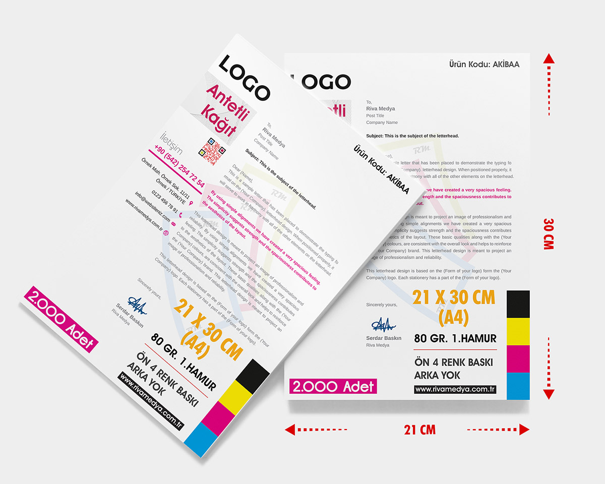 Antetli Kağıt – (A4) – (Tasarım + Baskı)