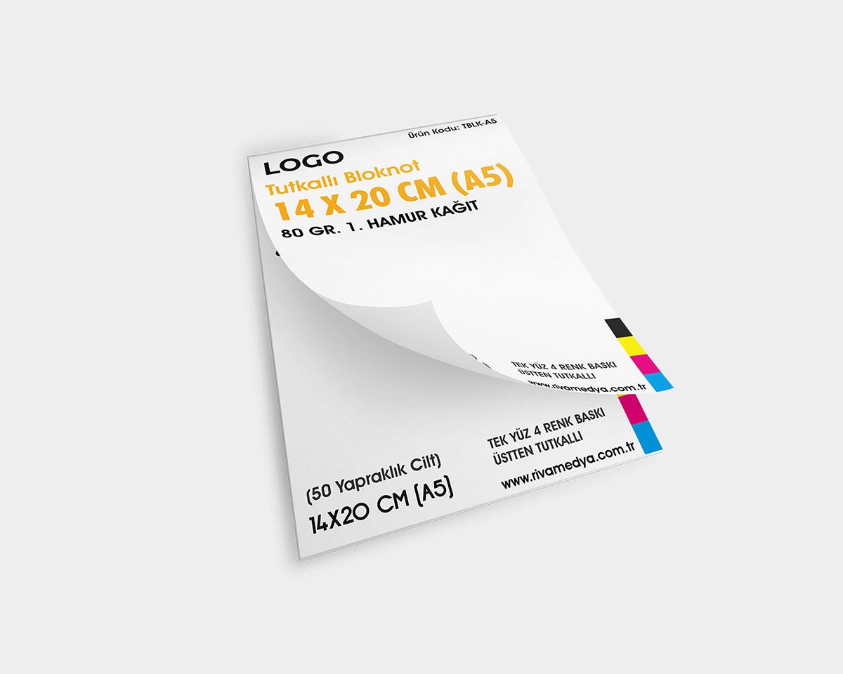 Tutkallı Bloknot – 14 X 20 CM (A5) - (Tasarım + Baskı)