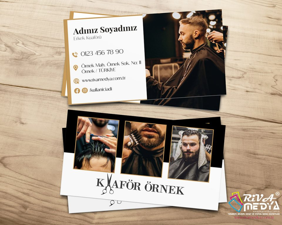 Erkek Kuaförü 02 Kartvizit - Hazır Kartvizit Tasarımı