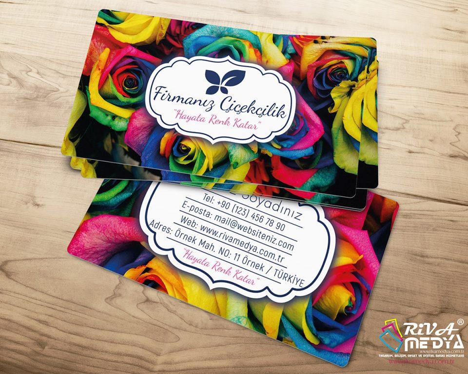 Çiçekçi Kartvizit - Renkli Güller - Hazır Kartvizit Tasarımı