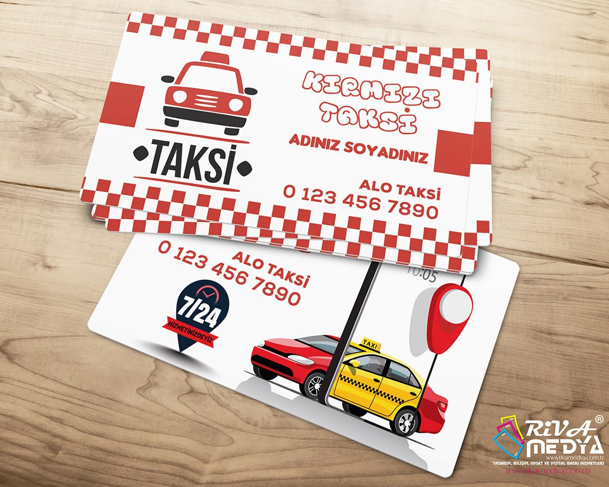 Kırmızı Taksi Kartvizit - Hazır Kartvizit Tasarımı