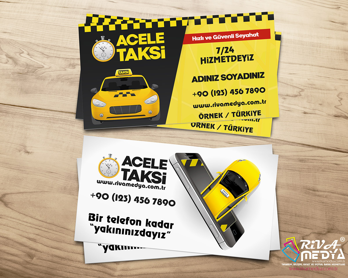 Acele Taksi Kartvizit - Hazır Kartvizit Tasarımı