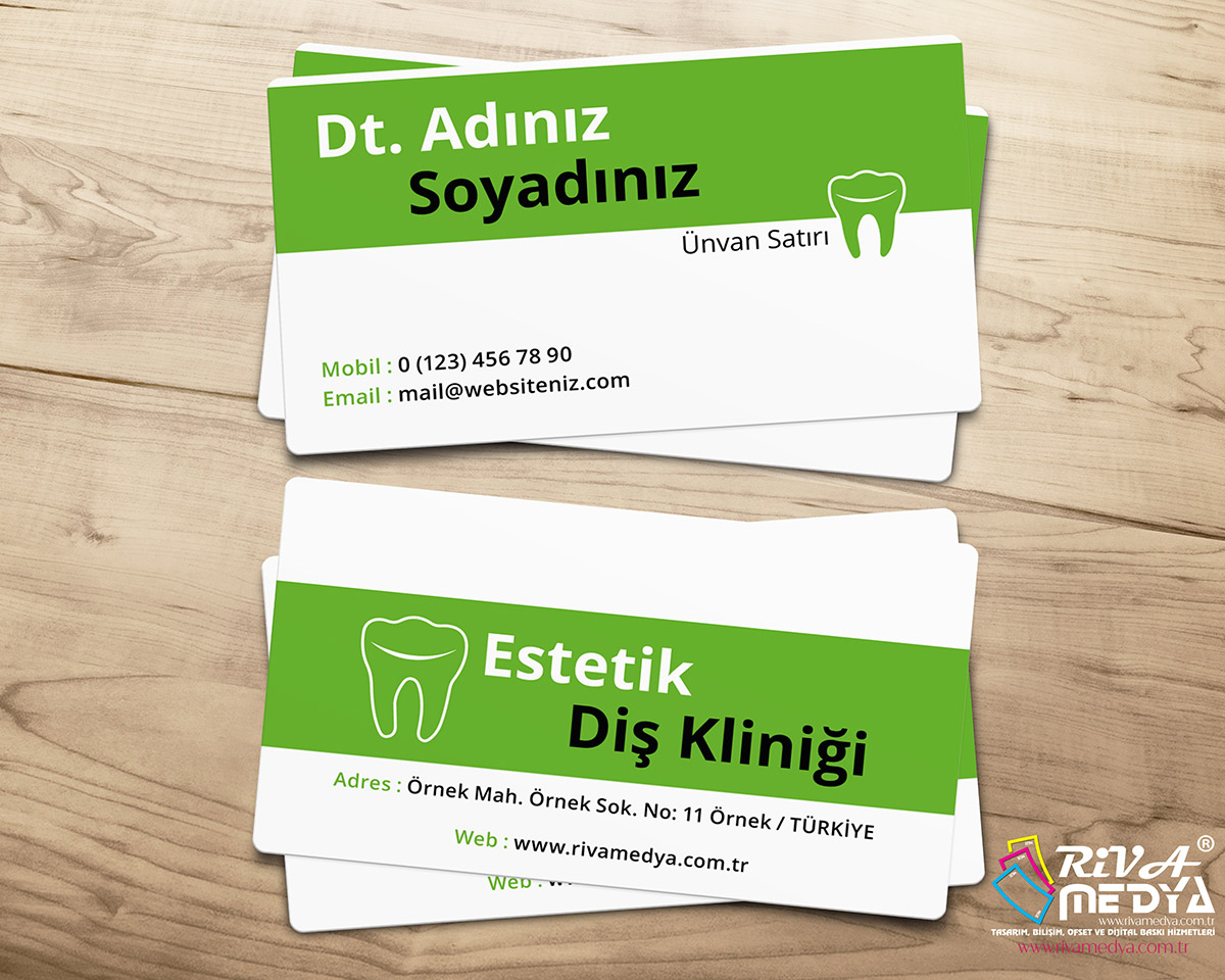 Yeşil Diş Kliniği Kartvizit - Hazır Kartvizit Tasarımı