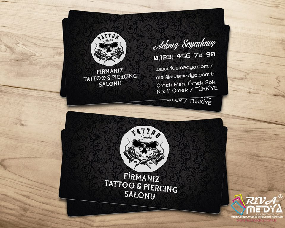 Tattoo & Piercing Salonu Kartvizit - Hazır Kartvizit Tasarımı